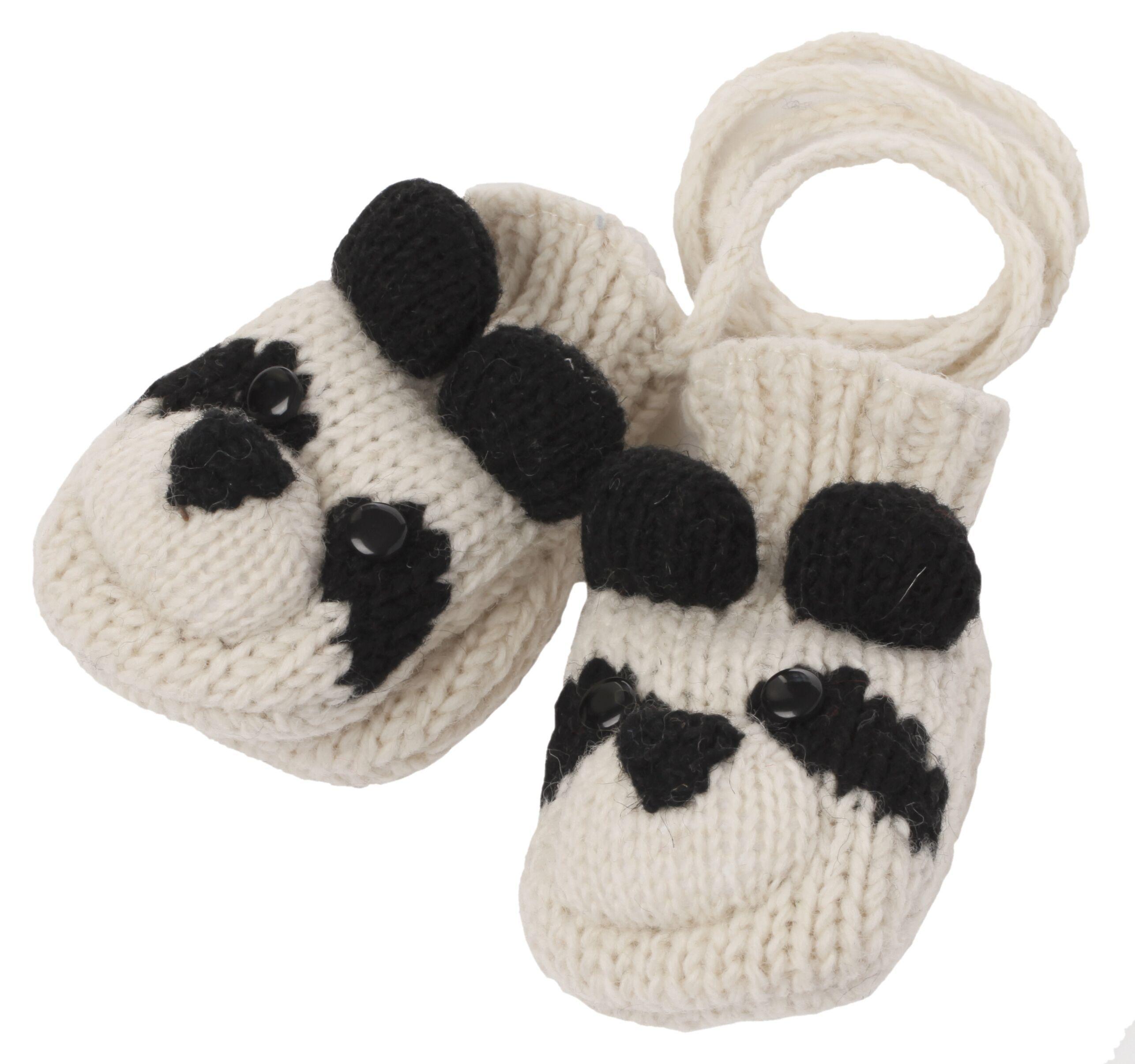 cute panda knitted mittens