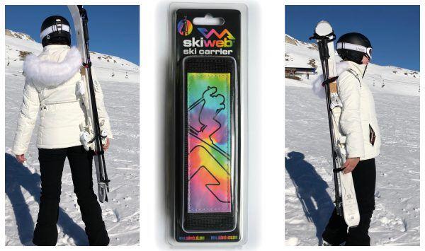 Multi Coloured Ski & Pole Carrier Strap - Hands Free