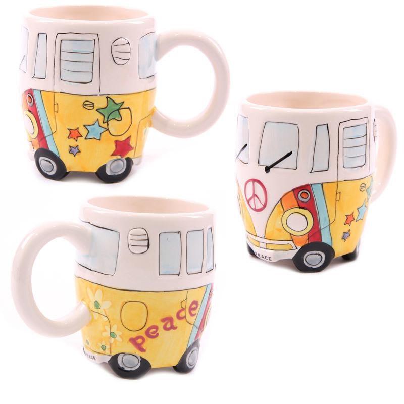 campervan peace mug yellow
