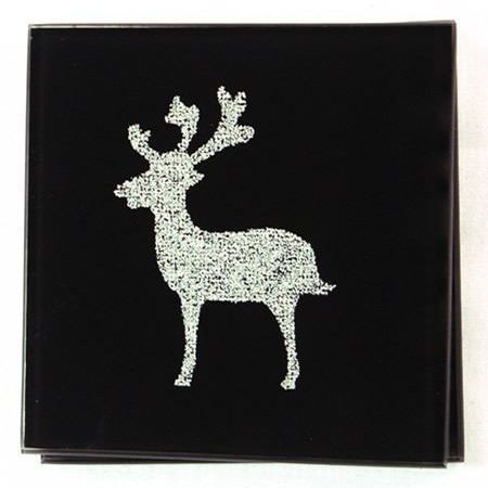 Reindeer Sparkle Coasters - Black 2 Pack
